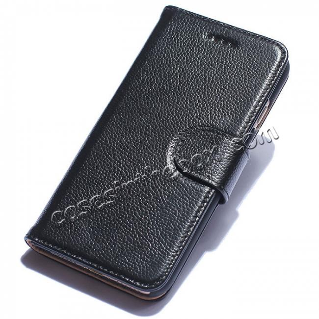 wholesale Luxury litchi Skin Real Genuine Leather Flip Wallet Case For iPhone 8 4.7 inch - Black
