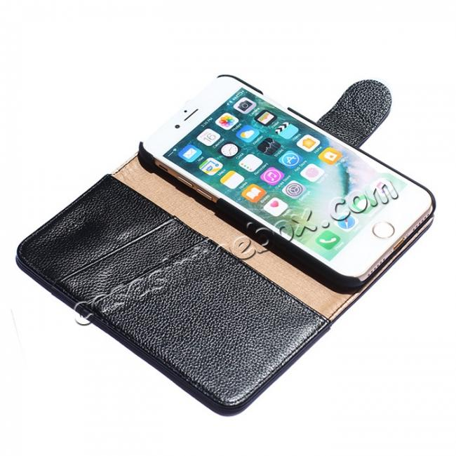 best price Luxury litchi Skin Real Genuine Leather Flip Wallet Case For iPhone 8 4.7 inch - Black