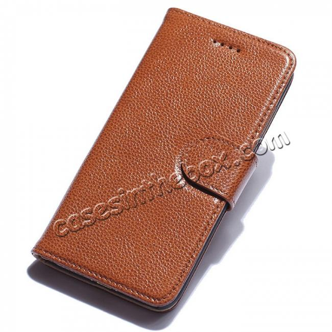 wholesale Luxury litchi Skin Real Genuine Leather Flip Wallet Case For iPhone 8 4.7 inch - Brown