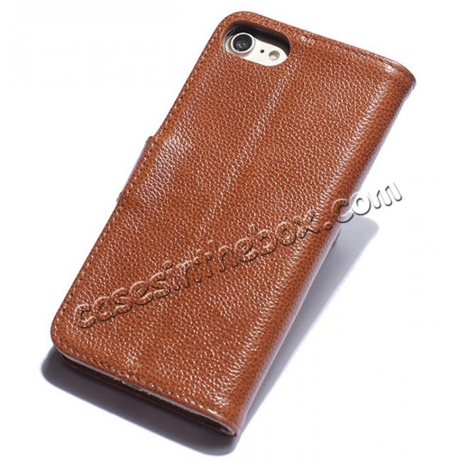 discount Luxury litchi Skin Real Genuine Leather Flip Wallet Case For iPhone 8 4.7 inch - Brown