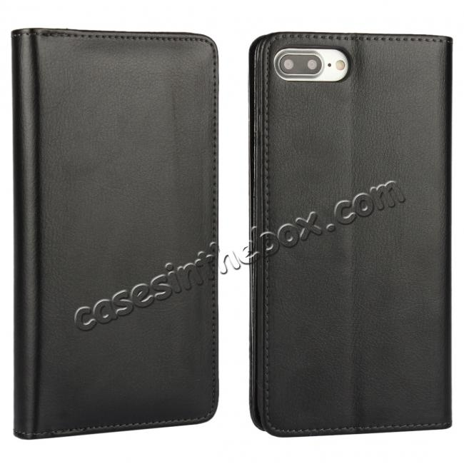 wholesale Luxury Multifunction Wallet PU Leather Card Holder Pouch Flip Case for iPhone 8 Plus 5.5 inch - Black