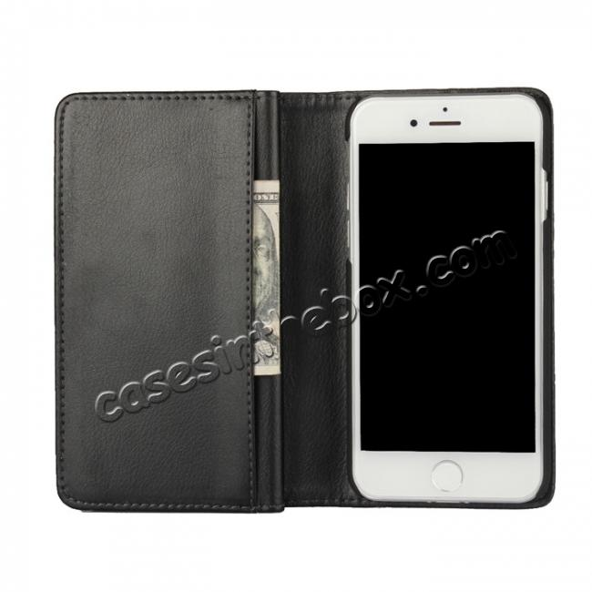 best price Luxury Multifunction Wallet PU Leather Card Holder Pouch Flip Case for iPhone 8 Plus 5.5 inch - Black