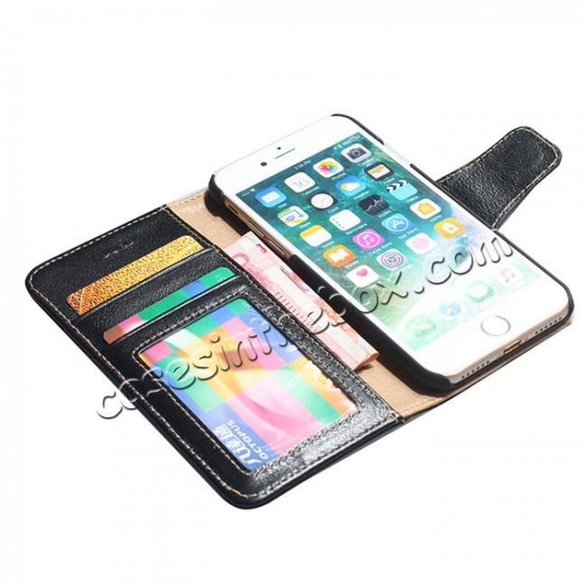 on sale Luxury Real Genuine Cowhide Leather Stand Wallet Case for iPhone 8 4.7 inch - Black