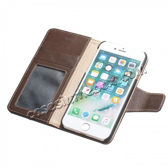 cheap Luxury Real Genuine Cowhide Leather Stand Wallet Case for iPhone 8 4.7 inch - Coffee