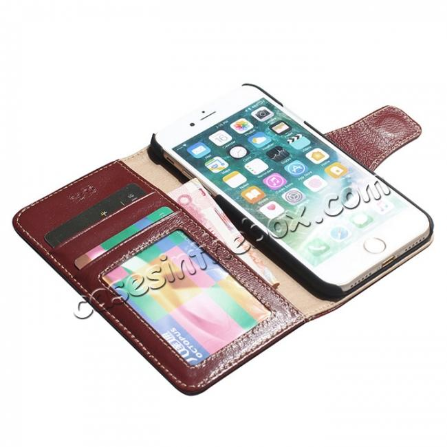 on sale Luxury Real Genuine Cowhide Leather Stand Wallet Case for iPhone 8 4.7 inch - Wine Red