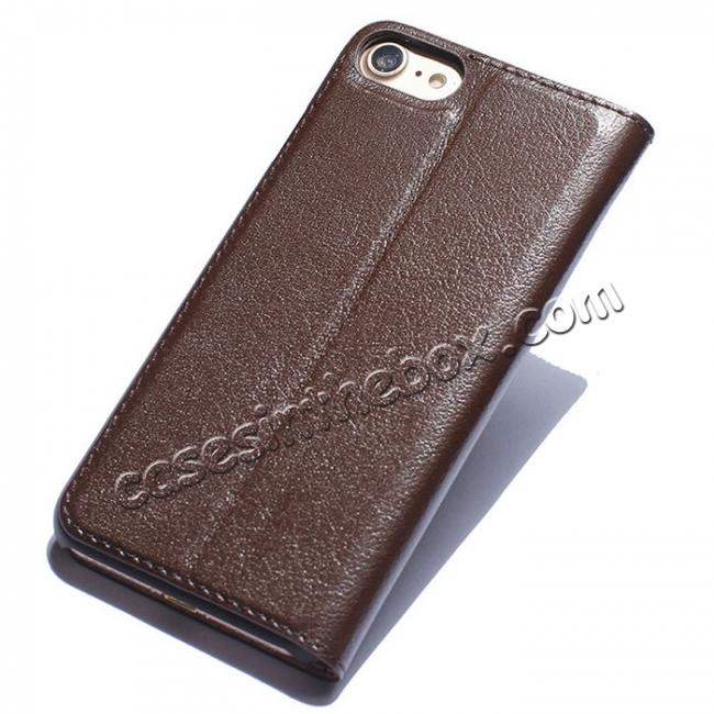 discount Luxury Real Genuine Leather Double Window Flip Case for iPhone 8 4.7 Inch - Brown