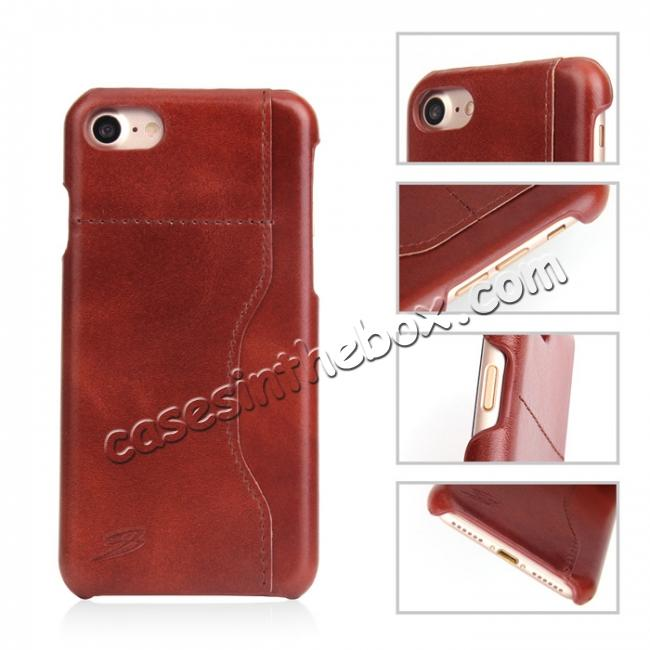 cheap Oil Wax Grain Genuine Leather Back Cover Case With Card Slot For iPhone 8 4.7 inch - Brown