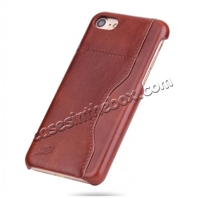 discount Oil Wax Grain Genuine Leather Back Cover Case With Card Slot For iPhone 8 4.7 inch - Brown