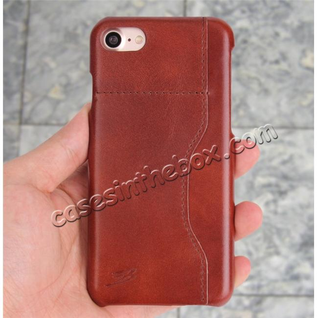 best price Oil Wax Grain Genuine Leather Back Cover Case With Card Slot For iPhone 8 4.7 inch - Brown