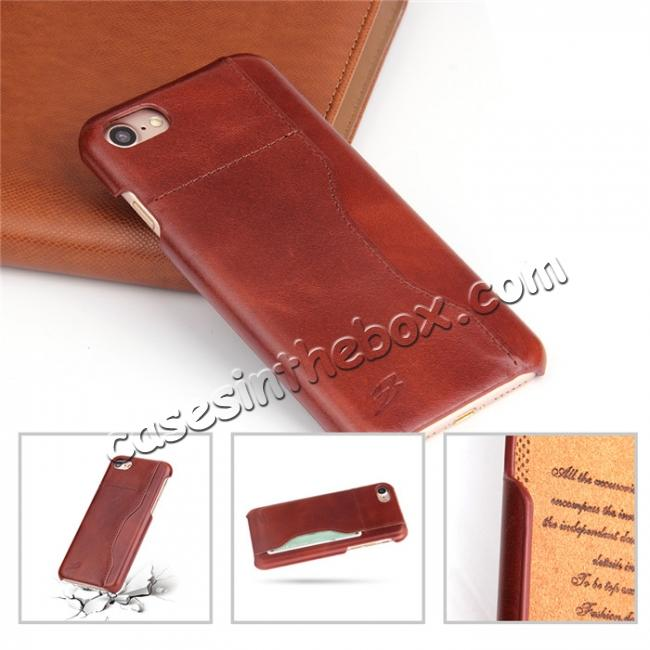 top quality Oil Wax Grain Genuine Leather Back Cover Case With Card Slot For iPhone 8 4.7 inch - Brown