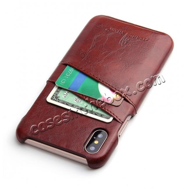 cheap Oil Wax Style Insert Card Leather Back Case Cover for iPhone X - Brown