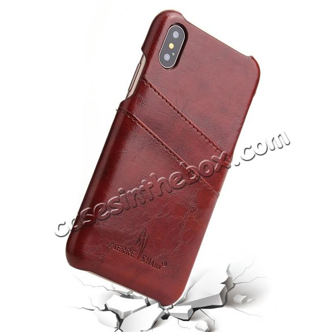 top quality Oil Wax Style Insert Card Leather Back Case Cover for iPhone X - Brown