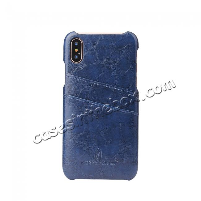 on sale Oil Wax Style Insert Card Leather Back Case Cover for iPhone X - Dark Blue