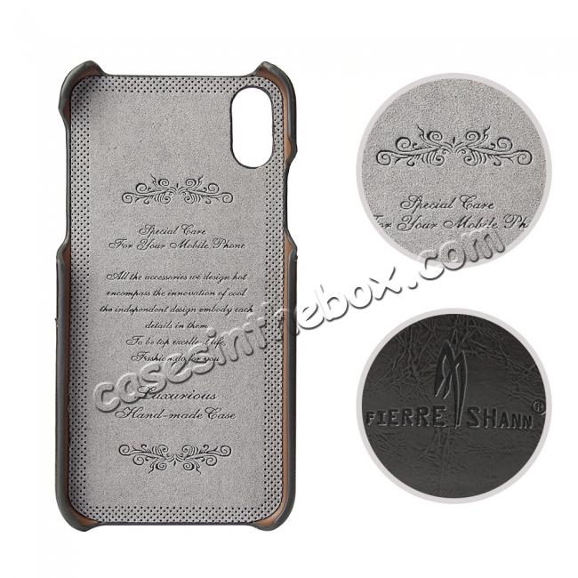 discount Oil Wax Style Insert Card Leather Back Case Cover for iPhone X - Dark Grey