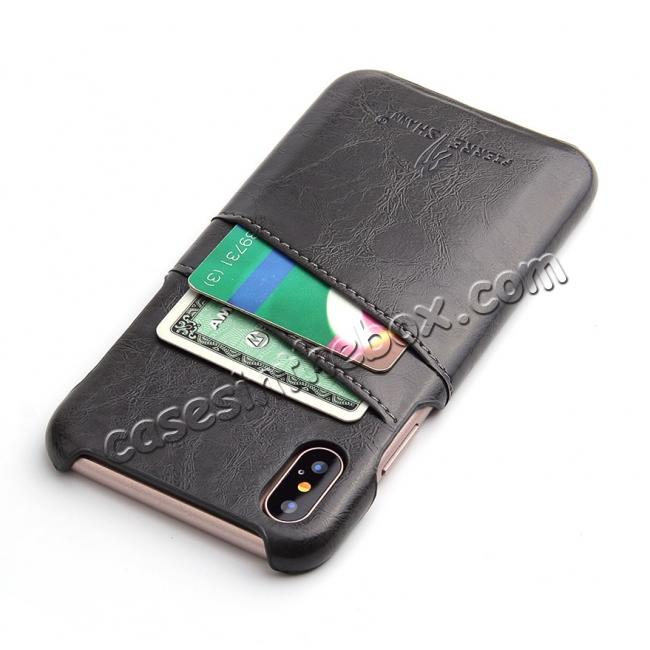 cheap Oil Wax Style Insert Card Leather Back Case Cover for iPhone X - Dark Grey