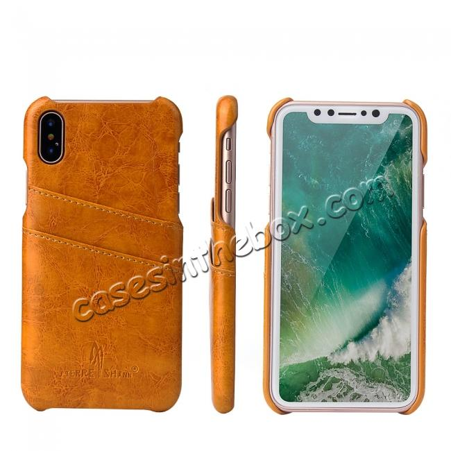 wholesale Oil Wax Style Insert Card Leather Back Case Cover for iPhone X - Orange