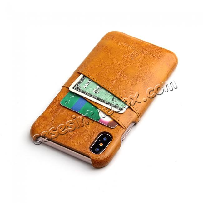 cheap Oil Wax Style Insert Card Leather Back Case Cover for iPhone X - Orange