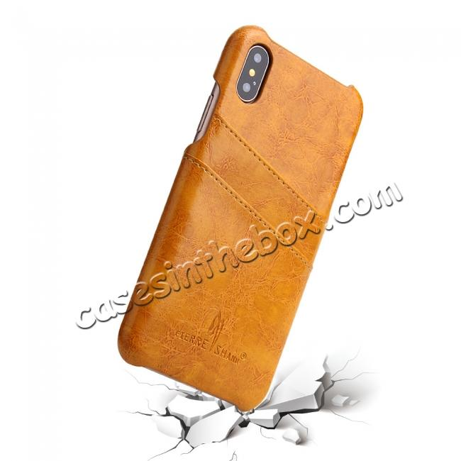 top quality Oil Wax Style Insert Card Leather Back Case Cover for iPhone X - Orange