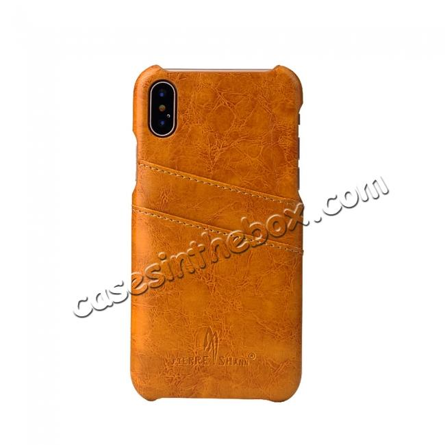 on sale Oil Wax Style Insert Card Leather Back Case Cover for iPhone X - Orange