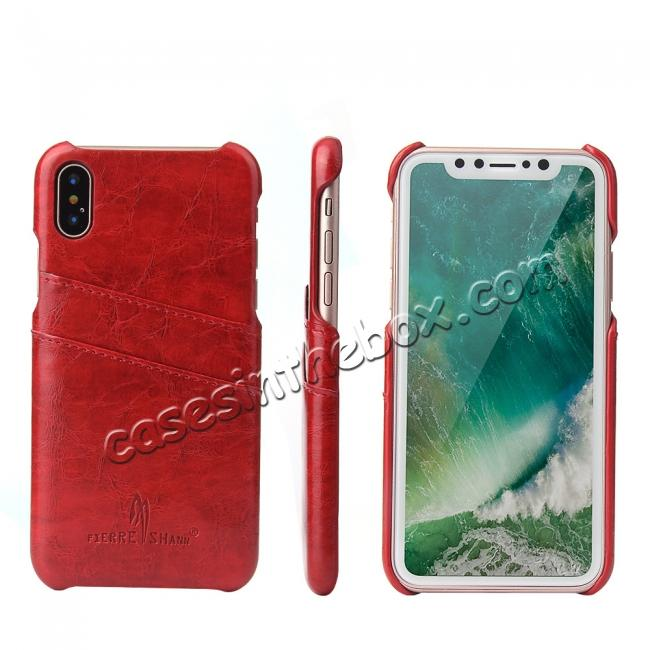 wholesale Oil Wax Style Insert Card Leather Back Case Cover for iPhone X - Red