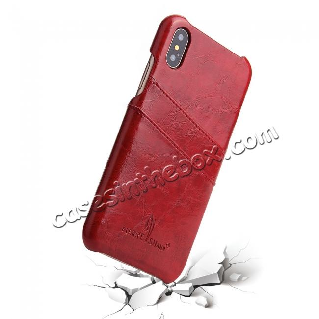 top quality Oil Wax Style Insert Card Leather Back Case Cover for iPhone X - Red
