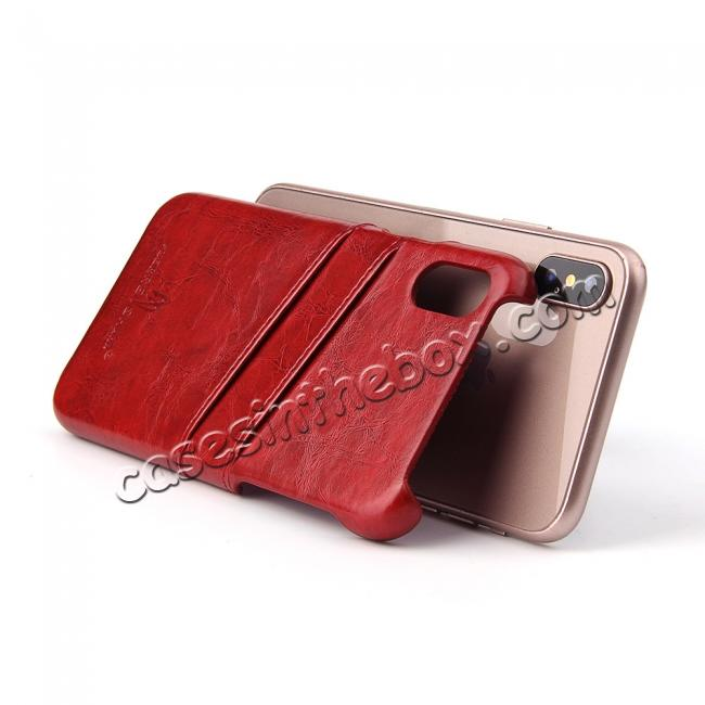 best price Oil Wax Style Insert Card Leather Back Case Cover for iPhone X - Red