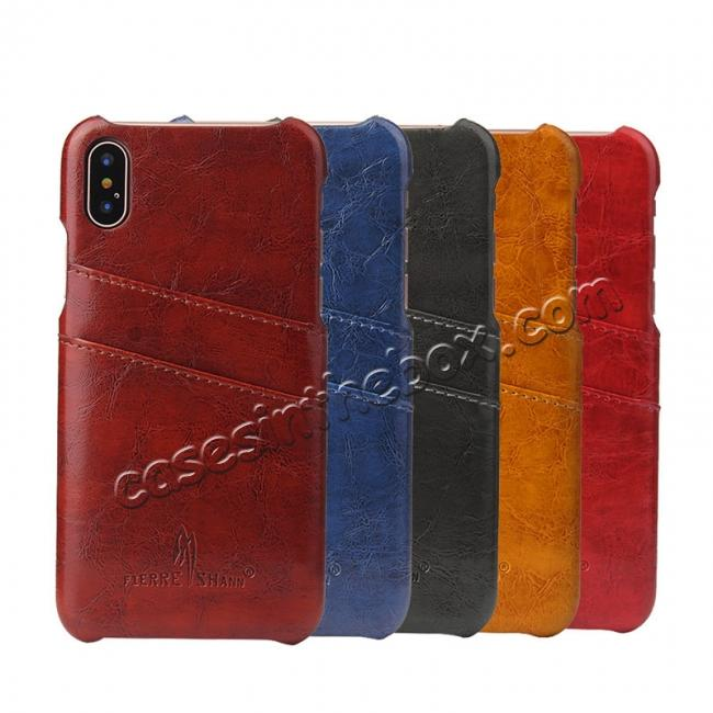on sale Oil Wax Style Insert Card Leather Back Case Cover for iPhone X - Red
