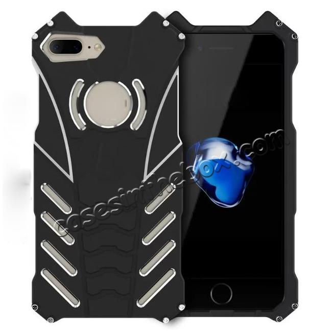 wholesale R-Just Aluminum Shockproof Back Case Cover for iPhone 8 Plus 5.5 inch - Black