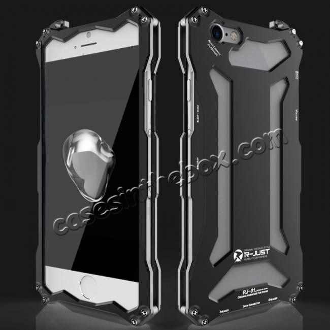 wholesale R-JUST Full Aluminum Metal Shockproof Protective Case for iPhone 8 4.7inch - Black