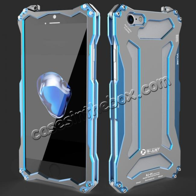 wholesale R-JUST Full Aluminum Metal Shockproof Protective Case for iPhone 8 4.7inch - Blue