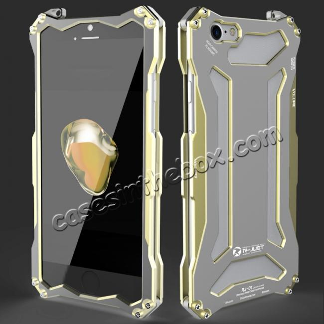 wholesale R-JUST Full Aluminum Metal Shockproof Protective Case for iPhone 8 4.7inch - Gold