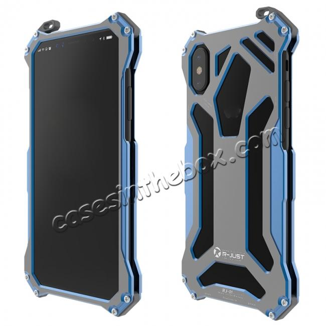 discount R-Just Gundam Aluminum Alloy Shockproof Case for iPhone X - Blue
