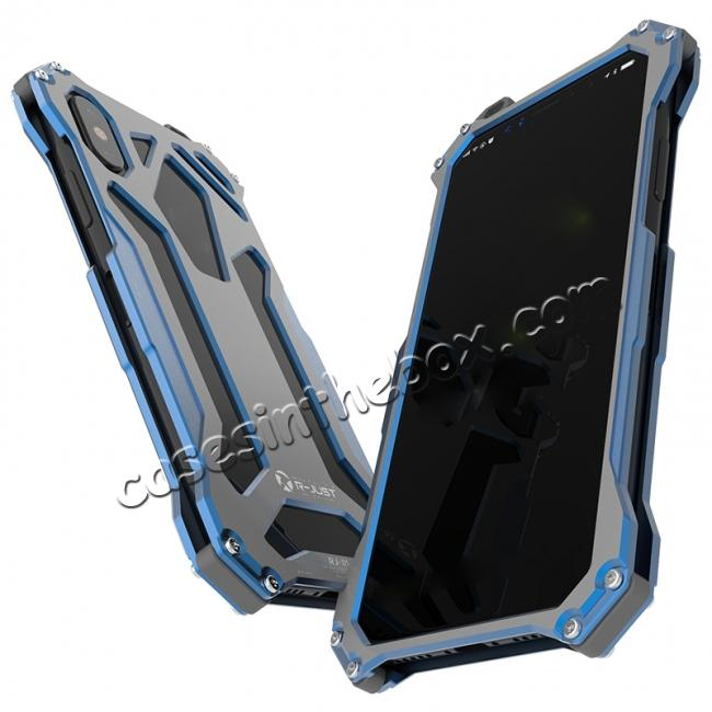 cheap R-Just Gundam Aluminum Alloy Shockproof Case for iPhone X - Blue