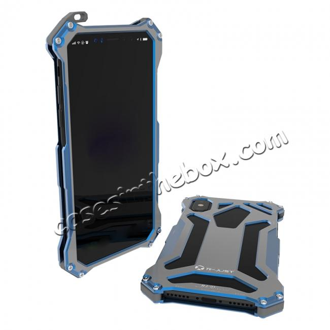 best price R-Just Gundam Aluminum Alloy Shockproof Case for iPhone X - Blue