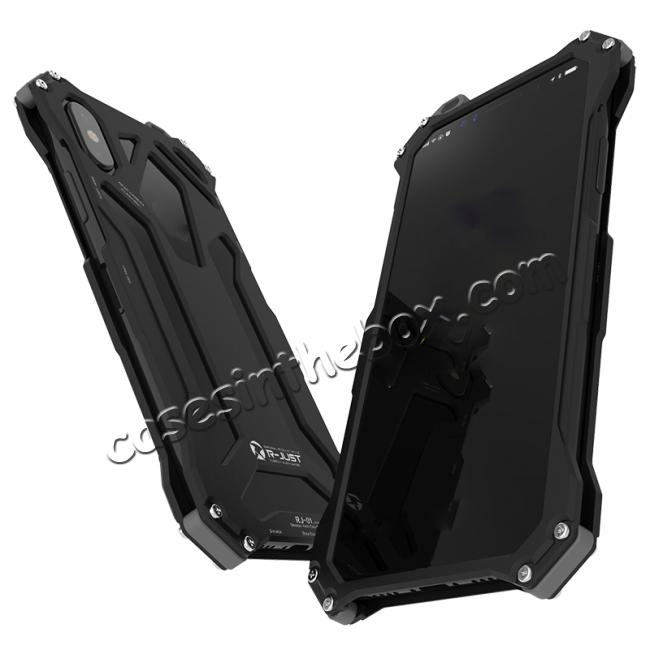 cheap R-Just Gundam Aluminum Alloy Shockproof Case for iPhone X - Black