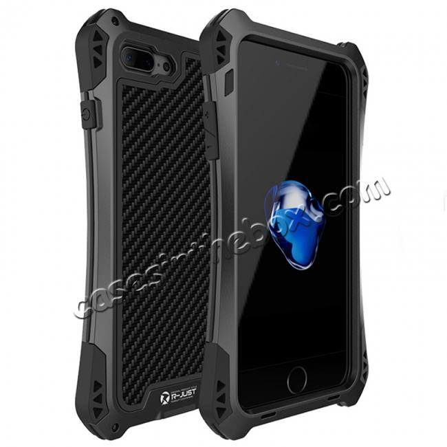 wholesale R-JUST Metal Gorilla Glass Shockproof Case Carbon Fiber Cover for iPhone 8 Plus - Black