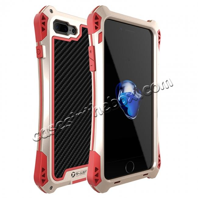 wholesale R-JUST Metal Gorilla Glass Shockproof Case Carbon Fiber Cover for iPhone 8 Plus - Gold&Red