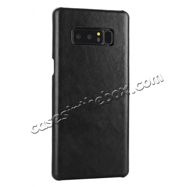 cheap Real Genuine Cow Leather Back Cover Case for Samsung Galaxy Note 8 - Black