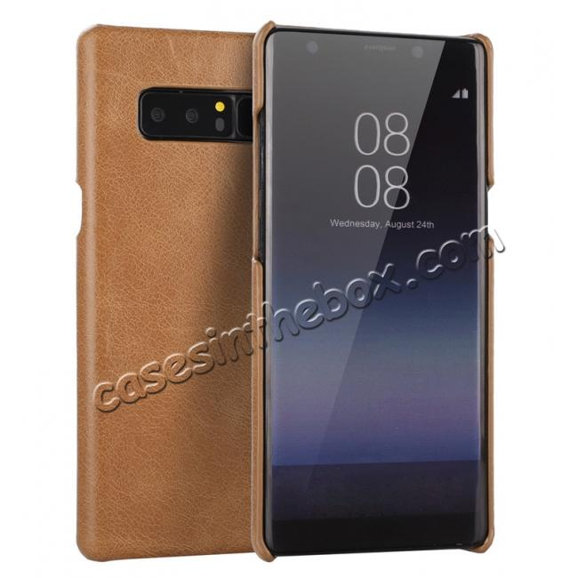 wholesale Real Genuine Cow Leather Back Cover Case for Samsung Galaxy Note 8 - Brown