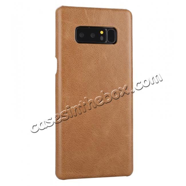cheap Real Genuine Cow Leather Back Cover Case for Samsung Galaxy Note 8 - Brown