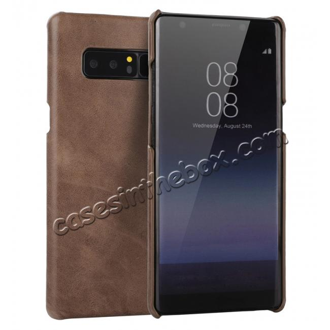 wholesale Real Genuine Cow Leather Back Cover Case for Samsung Galaxy Note 8 - Coffee