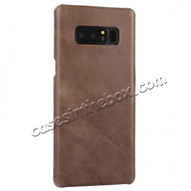cheap Real Genuine Cow Leather Back Cover Case for Samsung Galaxy Note 8 - Coffee