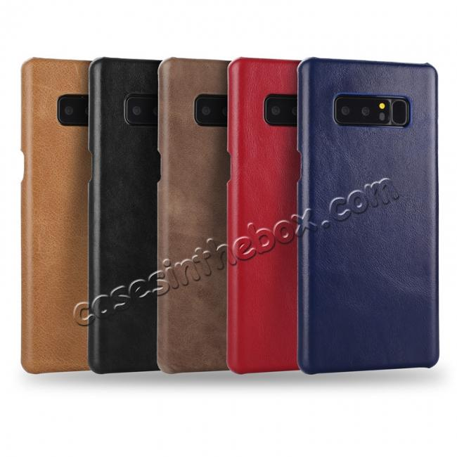 best price Real Genuine Cow Leather Back Cover Case for Samsung Galaxy Note 8 - Coffee