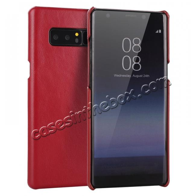 wholesale Real Genuine Cow Leather Back Cover Case for Samsung Galaxy Note 8 - Red