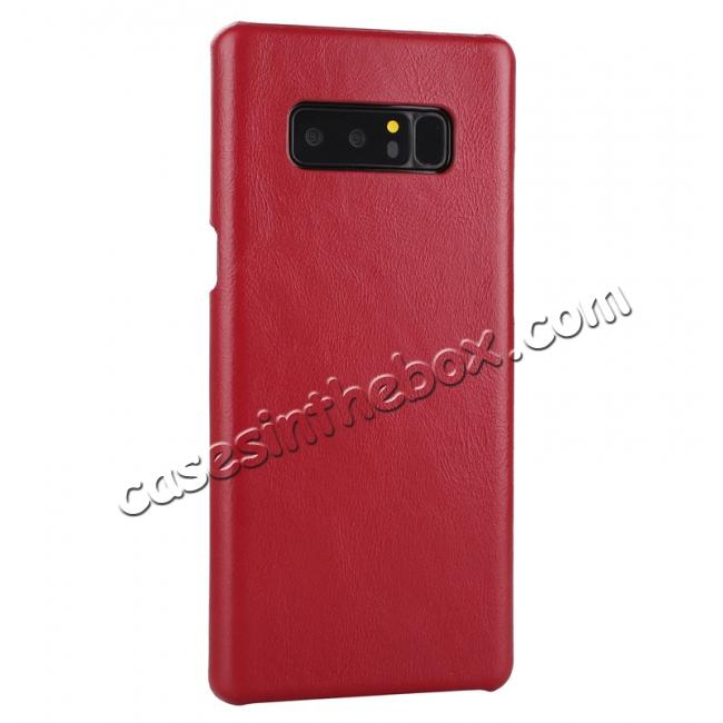 cheap Real Genuine Cow Leather Back Cover Case for Samsung Galaxy Note 8 - Red
