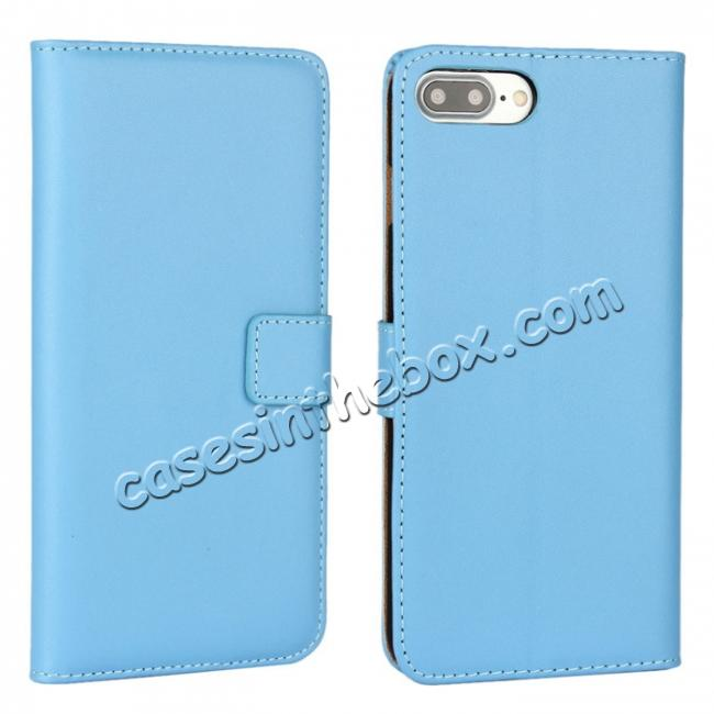wholesale Real Genuine Leather Side Flip Wallet Case Cover for iPhone 8 4.7 inch - Blue