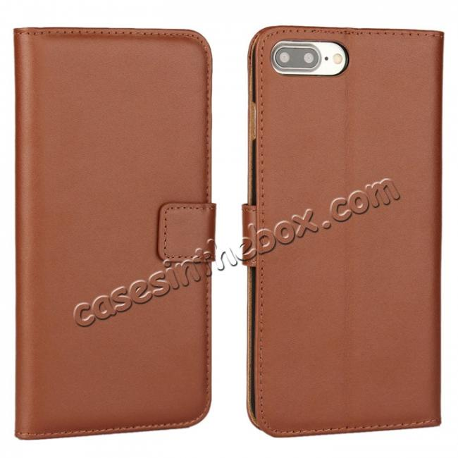 wholesale Real Genuine Leather Side Flip Wallet Case Cover for iPhone 8 4.7 inch - Brown