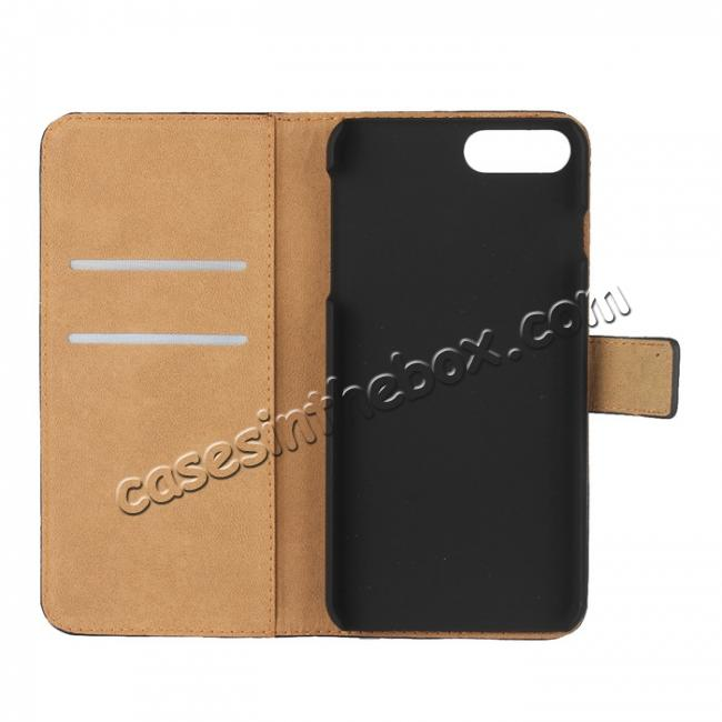 best price Real Genuine Leather Side Flip Wallet Case Cover for iPhone 8 4.7 inch - Brown
