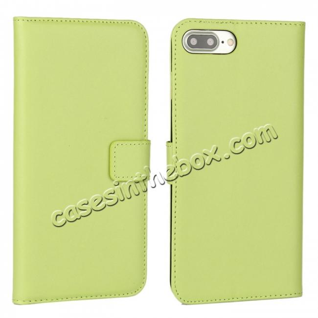 wholesale Real Genuine Leather Side Flip Wallet Case Cover for iPhone 8 4.7 inch - Green