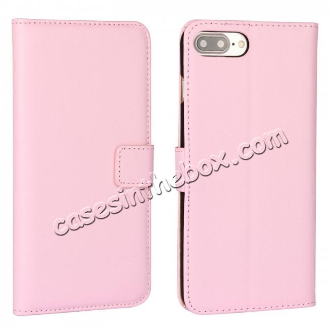 wholesale Real Genuine Leather Side Flip Wallet Case Cover for iPhone 8 4.7 inch - Pink